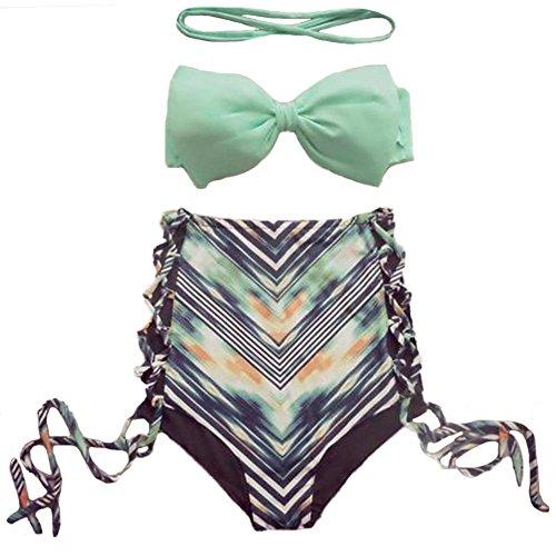 DELEY Donne Ragazze Stampato Fiocco Imbottito Vita Alta Coulisse Filo Free Sexy Bikini Beachwear Costumi Da Bagno Verde