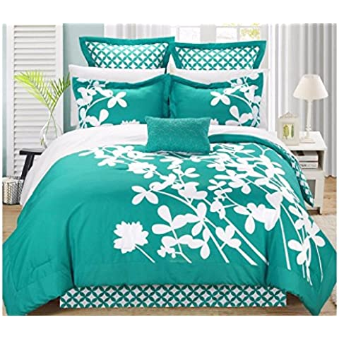 XMQC*Comforter Set di 7 pezzi quattro Shams cuscino decorativo Iris reversibile floreali
