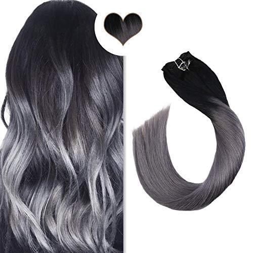 Ugeat 45 cm Clip in Extensions Echthaar Ombre Schwarz zu Silber 7pcs/120g 100% Remy Echthaar für Komplette Haarverlängerung Glatt -