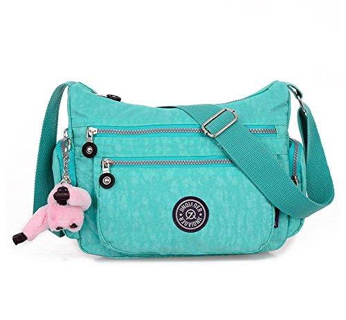 niceEshop(TM) Nylon Impermeable Multi-bolsillo de la Bolsa de Mensajero para las Mujeres (color Esmeralda)