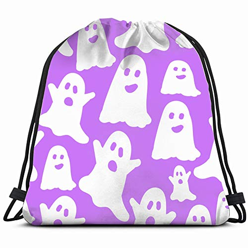DD Decorative Simple Ghosts Lilac Cute Objects Drawstring Backpack Gym Sack Lightweight Bag Water Resistant Gym Backpack for Women&Men for Sports,Travelling,Hiking,Camping,Shopping Yoga