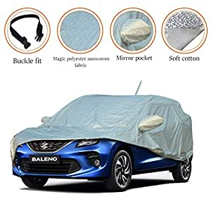 AllExtreme BN7007 Waterproof Car Body Cover for Maruti Suzuki Baleno Custom Fit Water Resistant, Reflective Silver with Mirror Imported Fabric (Silver with Mirror)