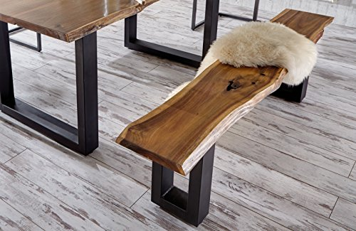 SAM® Stilvolle Sitzbank aus Akazie-Holz, Bank mit lackierten Beinen aus Roheisen, naturbelassene Optik mit einer Baumkanten-Oberfläche, 180 x 40 cm [521023]