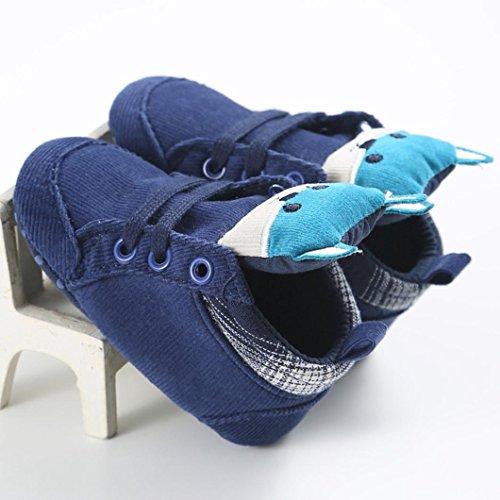 BZLine - Unisexe Bébé Forme Renard Chaussure en coton - Semelle à tissu - Souple (12~18 Mois, Orange) Bleu