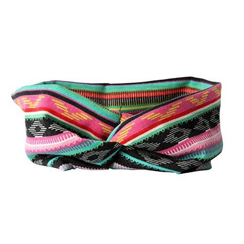 Qinlee Elastische Stirnband Ethnisch Stil Muster Haar Accessoires Mädchen Haarband Modegeschenk Sport Haar Band Frisuren Haar Accessoires (Pink)