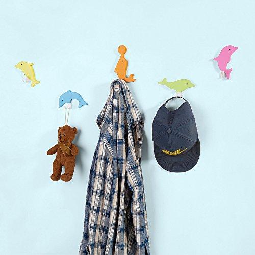 SoBuy® FHK04-F 5er Set Wandhaken in Delphin Design Haken Hängegarderobe Kleiderhaken Kind bunt