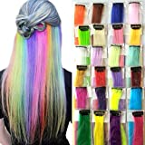 Clip In coloriertes Haar Extensions 24Farben gerade 50,8cm bunt Haarteil Clip auf 24Stück