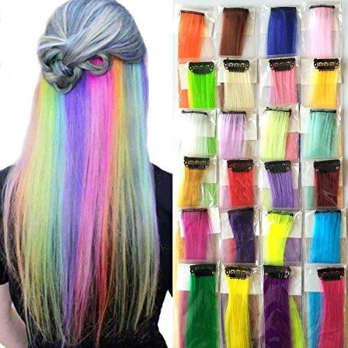 Clip en Extensions de cheveux de couleur 24 couleurs droites 50,8 cm coloré Bicolore dégradé à clipser Lot de 24 pcs