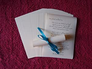 50 A6 Wedding favour table scrolls - Turquoise coloured ribbon / Cream paper. Beautiful table decorations for your wedding breakfast (Also available with white paper) by Charmed Zone