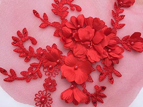 Für Kostüm Applikationen Tanz - Lace Crafts - 2 Stück rote 3D-Blumen-Spitzen-Applikation, Lavendel Braut-Spitzen-Applikation für Tanz-Kostüme, Brautkleider-Saum Zubehör rot