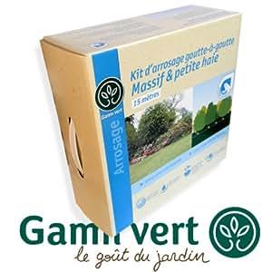 gamm vert kit d 39 arrosage 15 m goutte goutte 20 goutteurs massif et petite haie se. Black Bedroom Furniture Sets. Home Design Ideas