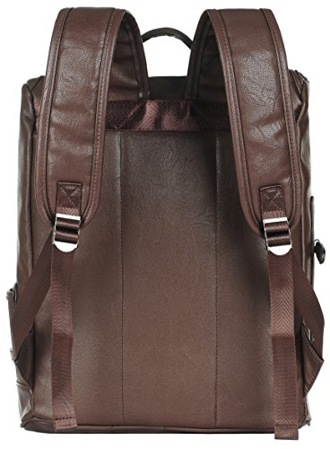 Binlion Taikes Unisex PU leather Backpack Shoulder Backpack Messenger Cross Body Bag and Unisex Canvas Backpack Coffee30