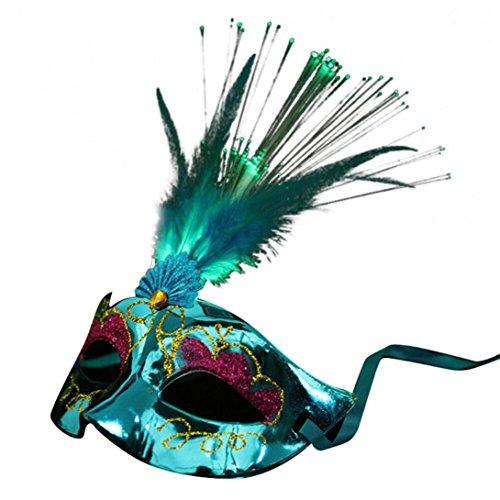 Halloween Maskulin Pfau Glühen Maske,Frauen Venetianische LEDFiber Maske Masquerade Fancy Dress Party Prinzessin Feather Masken (Silikon-halloween-maske-kit)