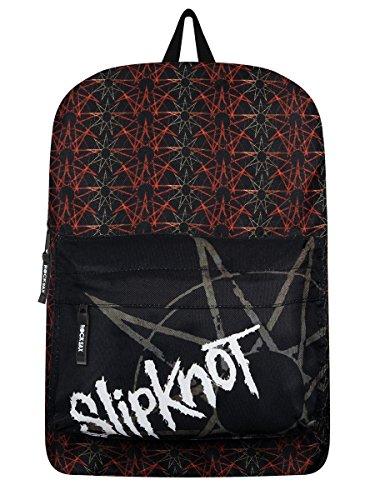 Offizieller Rock Sax Slipknot Pentagram Logo Schwarzer und roter Schul Laptop Rucksack (Slipknot Reißverschluss)