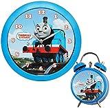 alles-meine.de GmbH 2 TLG. Set - Wanduhr + Kinderwecker -  Thomas die kleine Lokomotive  und Freunde - blau 28,5 cm groß - Uhr Kinderzimmer - Eisenbahn / Bahn - Zug Lok - Lernu..