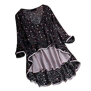 MRULIC Damen Fledermaus Hemd Lässig Locker Top Dünnschnitt Bluse Frühling T-Shirt Leinenbluse Freundin(C1-Schwarz,EU-50/CN-5XL)