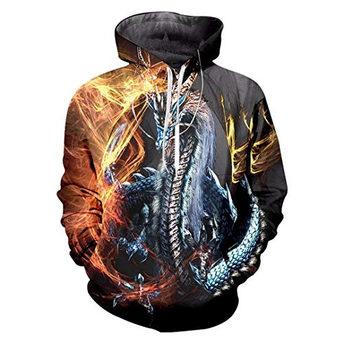 Pokem&Hent Herren Cool Print Fire Dragon 3D Sweatshirt Paar Kapuzen Langarm überragt Trainingsanzug Fire Dragon L