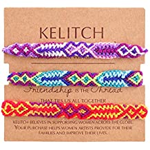 KELLITCH 3 PCS / 10 PCS Hilo de algodón Multicolor Tejido a Mano Pulsera de la
