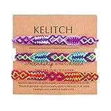 KELITCH 3 Pcs/Un Suite Fait Main Tressé Bracelet Amitié Hippie Chic Multicolore Tressé Chic Bijoux pour Femmes