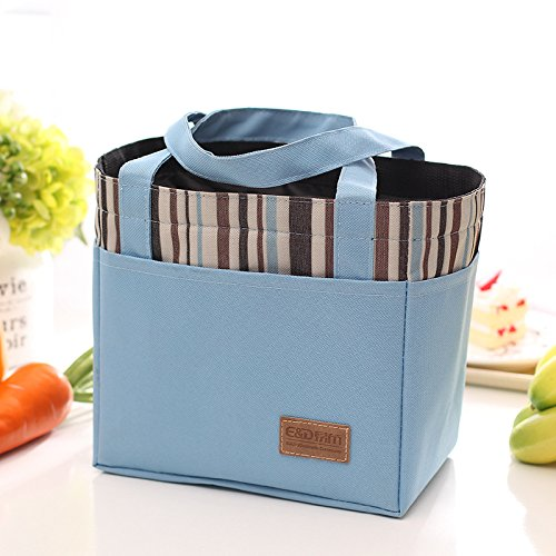 qearly Mode Bandes Cordon de serrage Sac isotherme Sac repas Snack Sac pique-nique isolée Mort Sac repas de conteneur de rangement Bleu