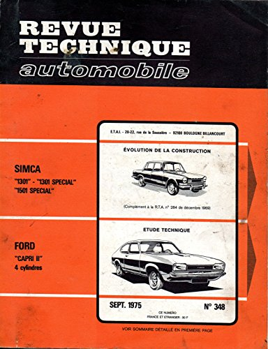 t l charger pdf revue technique automobile n 348 ford capri ii moteur 4 cylindres. Black Bedroom Furniture Sets. Home Design Ideas
