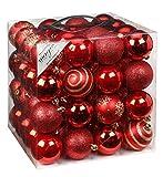 64x Kunststoff Christbaumkugeln 6cm Kugel Box Glanz Glitzer Matt Dekor Inge Glas, Farbe:Red-Mix