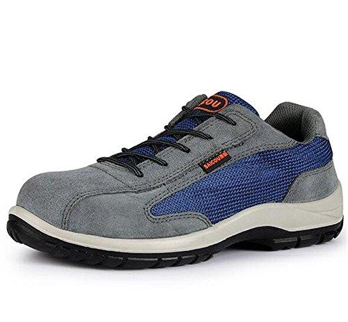 Männer Schuhe Anti Piercing Wildleder Stahl Toe Arbeitssicherheit Größe 38To44 , Blue , EU41 -