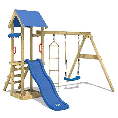 WICKEY Spielturm TinyCabin Kletterturm Spielplatz mit Schaukel und Rutsche, Sandkasten und Strickleiter Markise Für Schaukel