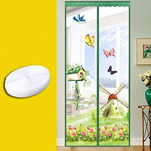 Magnetische Mesh Vorhang, Atmungsaktive Verschlüsselte Fliegengitter Sommer Schlafzimmer Tür Gezeigt Velcro Weiches Garn Vorhang-B 110x210cm(43x83inch)