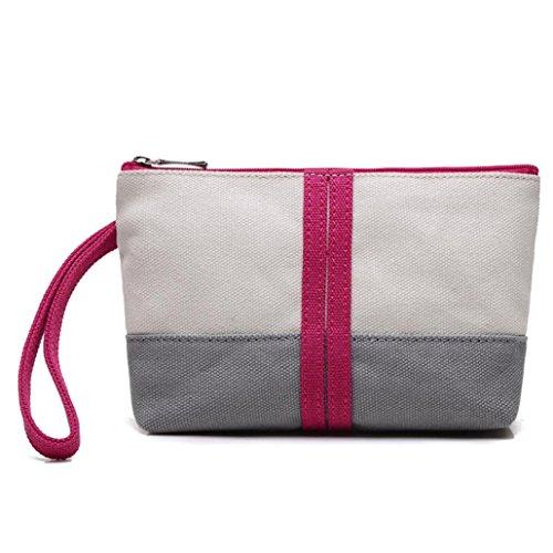 BZLine® Frauen Leinwand Kampf Farbe Handtasche Tasche kleine Tote Damen Handtasche, 5.5cm*16cm*12cm Hot Pink