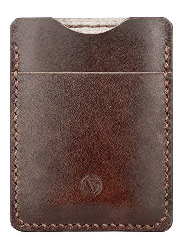 Vuklit Handgenäht Mini Männer Leder Geldbeutel, RFID Blocking, Minimalistisch Geldbörse, 3 Fächer Für Bis Zu 10 Karten, Ebenholz