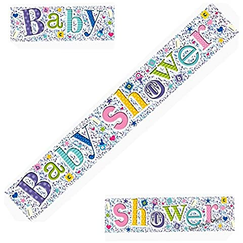 8ft Colourful Holographic Baby Shower Silver Foil Banner - Ideal for a baby boy's or girl's shower, Perfect for decorating your special day, Coordinate with other colourful decorations (1 Banner)