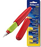 Pelikan 923581 Füllhalter Twist (Universel für Rechts- und Links händer) rot/grün + Tintenpatronen Reserve 5x 6Stück