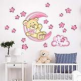 R00317 Stickers Muraux Ours Lune Etoiles Décoration Murale Chambre D'enfants Maternelle