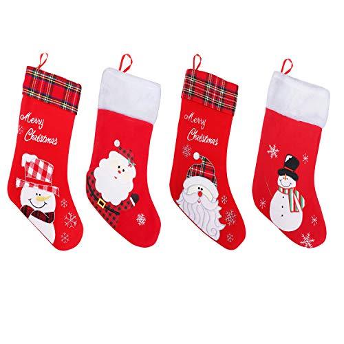 Calze natalizie ricamate (pacco da 4) - 45 cm circa calze natalizie da appendere rosse con pupazzo neve, babbo natale, ricamo merry christmas e soffice strato superiore in plaid per addobbi natalizi