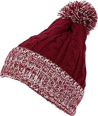Sakkas CADK1516 - Effie Unisex Heather Multi Colored Pom Pom Knit Beanie Hat - Crimson - OS