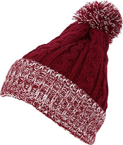 Sakkas BN16 - Dante Warm Unisex Pom-pom Ribbed Knit Beanie Simple and Casual - YCCADK1516-Crimson - OS - Crimson Knit Beanie