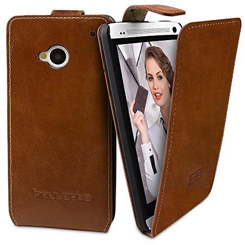 HTC One M7 Hülle BOULETTA Echt Leder Tasche Flip Case Handyhülle Lederhülle Ledertasche Handytasche im Flipstyle - Cognac Braun