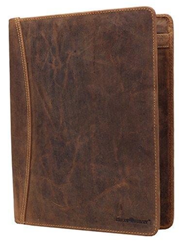 Greenburry Vintage Schreibmappe DIN A4 Konferenzmappe A4 Vertretermappe braun