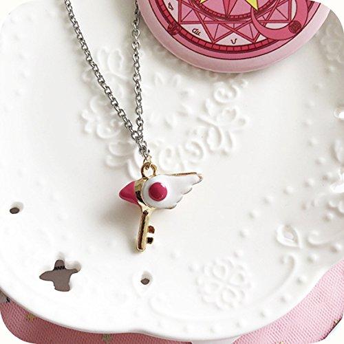 usongs Halskette mit Anhänger japanischer Cardcaptor Sakura Vogel Kopf Stab Stern Lange Pullover Kette Zubehör Animation um