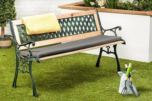 gardenista grau wasserfest klein außen Metall Gartenbank Sitzkissen Sitzbank nicht im Lieferumfang enthalten