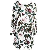 QUINTRA Frauen Blumendruck Minikleid Sommer Party Langarm Kleid Plus Größe (Beige, XL)