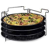 Relaxdays 10020495- Juego de bandejas para Pizza, práctico Juego con 4Unidades, Forma Redonda, Flexible, 32x 32x 20cm, Antracita