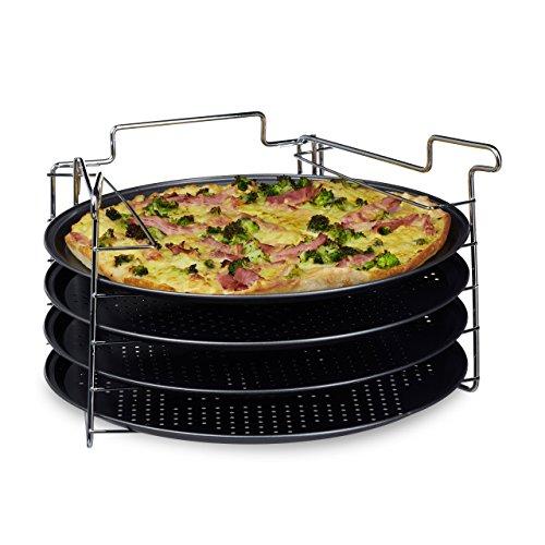 Relaxdays Pizzablech im 4er Set HBT: 20 x 32 x 32 cm Pizzabäcker-Set mit 4 Backblechen und Ständer als Pizza-Backblech und Flammkuchen Blech rundes Pizzabackblech mit Antihaftbeschichtung, anthrazit