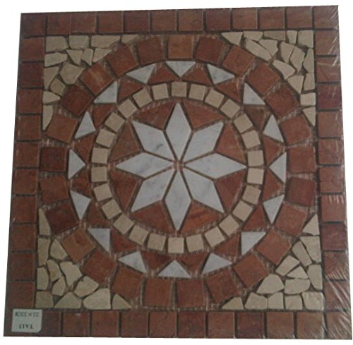 Marble mosaic square medallion tile 33x33 cm 8 mm Handmade in Europe