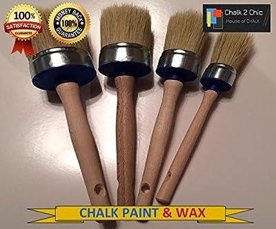 # KIT4Kreide Paint & Wax 4-er Set, rund, Mix Borsten Pinsel & Pure Wachs Bürste Hit-Möbel Farbe Set: 30mm 40mm 50mm + Wachs Pinsel 55mm