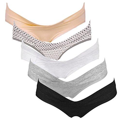 Intimate Portal Damen Schwangerschaftsunterhosen aus Baumwolle Unter dem Babybauch Umstandsmode Unterwäsche 5er-Pack M Neutrale Farben