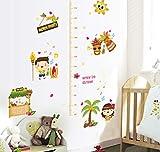 Cartoon kinder wachsen höhenmessung wandaufkleber happy boy girl beach party kinderzimmer baby schlafzimmer dekor abnehmbare abziehbilder 60x90 cm