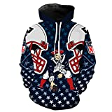SZRXKJ Herren Hooded Langarm 3D Digitaldruck New England Patriots Fußball Team Pullover Hoodies Kapuzenpullis Kapuzenpullis(XXXL,Navyblau)
