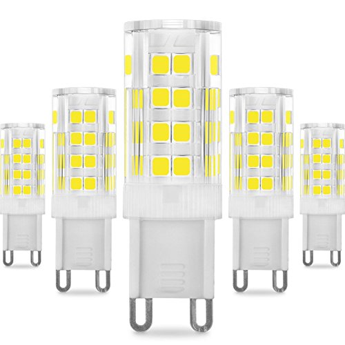KDP Energy Saver Ampoule LED, Culot G9-5W/400LM (Equivalent 40W Ampoules halogènes/Incandescente) Blanc Froid 6000K, 360° angle de faisceau, 220-240V, Lot de 5